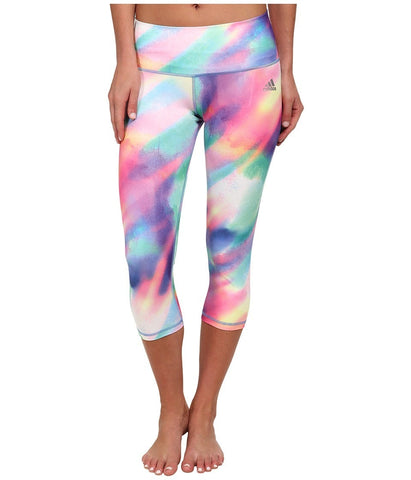 adidas - Performer Mid-Rise Three-Quarter Tight - Sunlight Camo Print (Multicolor Print/Matte Silver) Women's Workout
