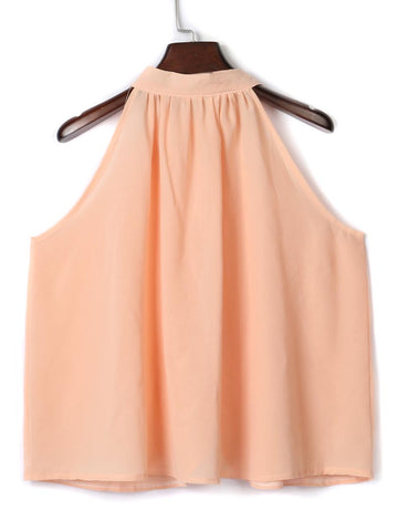 Pink Chiffon Top With Halter Neck