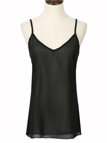 Black Spaghetti Strap Cross Back Chiffon Vest