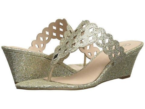 Adrianna Papell - Cache (Platino Chicago Glitter) Women's Wedge Shoes