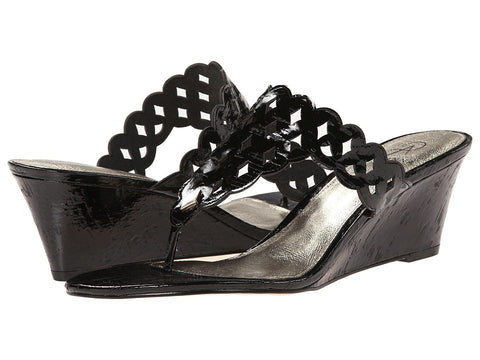 Adrianna Papell - Cache (Black Laquer Cork) Women's Wedge Shoes