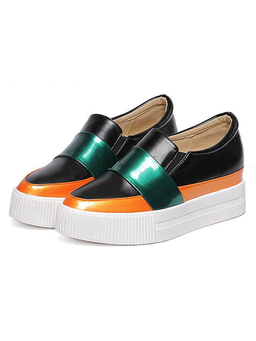 Black Color Block Sip-on Flatform Shoes