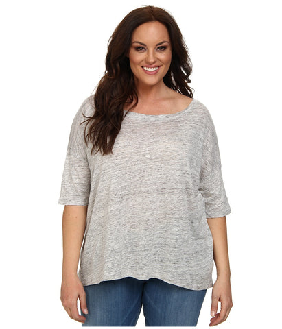 BB Dakota - Plus Size Risa Knit (Light Heather) Women's Short Sleeve Pullover