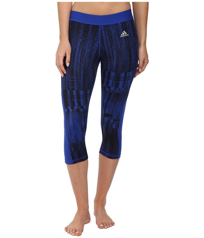 adidas - TECHFIT Capri Tights - Vibration Print (Bold Blue/Black/Print/Matte Silver) Women's Workout