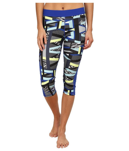 adidas - TECHFIT Capri Tights - Amazing Print (Bold Blue/Multicolor Print/Matte Silver) Women's Workout
