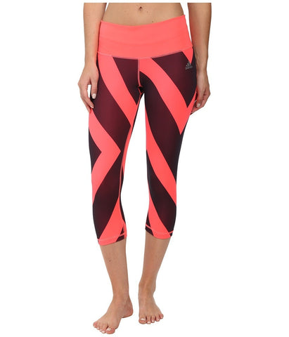 adidas - Performer Mid-Rise 3/4 Tights - Greater Than Bold Print (Flash Red/Dark Grey Print/Matte Silver) Women's Workout