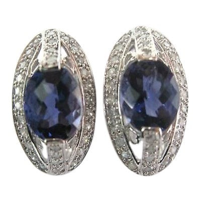 """10K White Gold Iolite Diamond Earrings"" - SprintShopping"