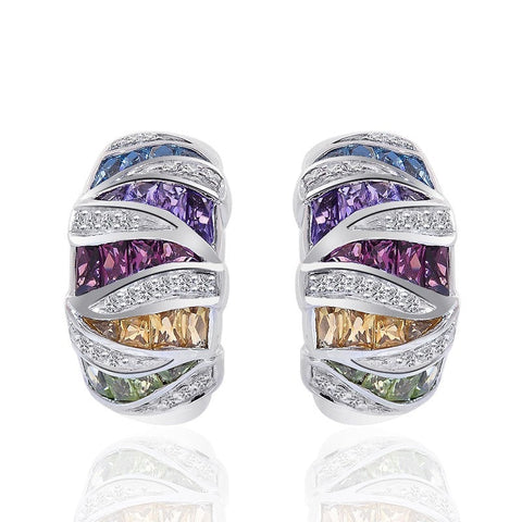 """10K White Gold Multi-Gemstone Diamond J-Hoop Earrings"" - SprintShopping"