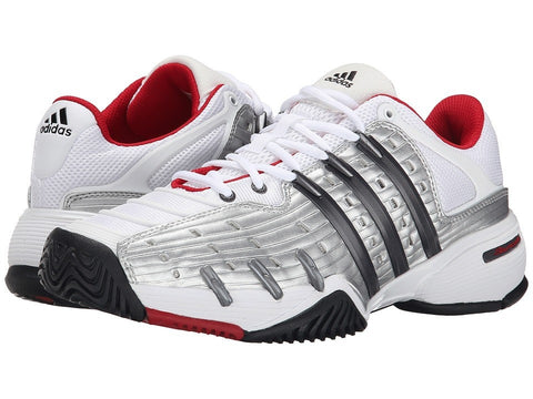 adidas - Barricade V Classic (White/Night Metallic/Bright Red) Men's Shoes