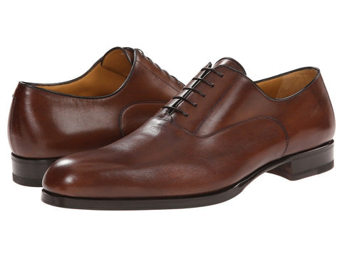 a. testoni - Liscia/Delave Oxford with Half Rubber Sole (Caramel) Men's Lace up casual Shoes