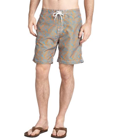 Aqua Triangle Print 'swami' Tie Front Swim Trunks
