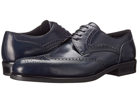 a. testoni - Antique Calf Wingtip (Navy) Men's Lace up casual Shoes