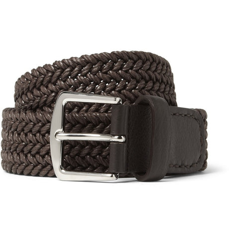 3.5cm Brown Leather-Trimmed Woven Waxed-Cotton Belt Brown