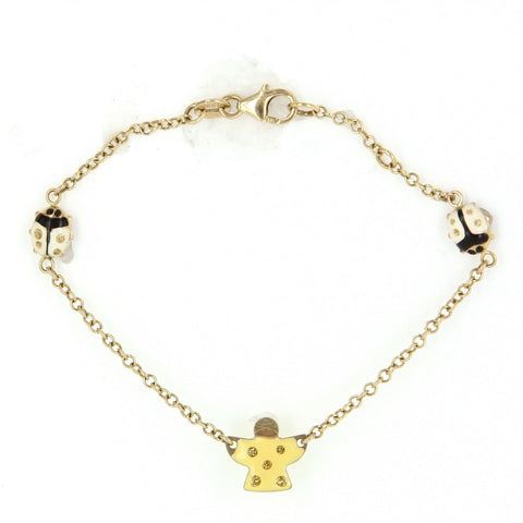"""14k Gold Enamel Child Ladybug Beetle Angel Charm Bracelet"" - SprintShopping"