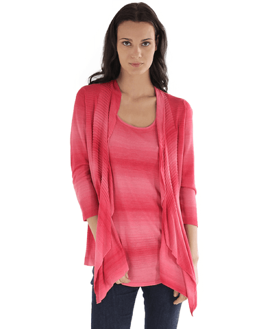 3/4 Sleeve Pleated Collar Open Cardigan
