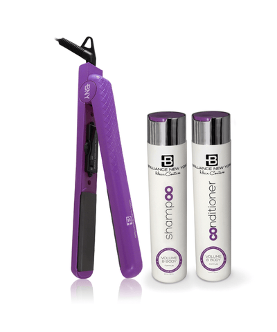 1.25 Inch Diamond Flat Iron - 100% Ceramic - Purple Volume & Body Shampoo Volume & Body Conditioner