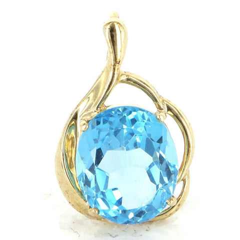 """10 Karat Yellow Gold Blue Topaz Cocktail Pendant"" - SprintShopping"