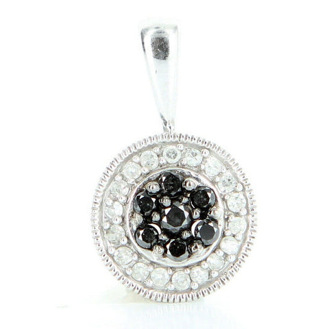 """10 Karat White Gold Black White Diamond Pendant"" - SprintShopping"