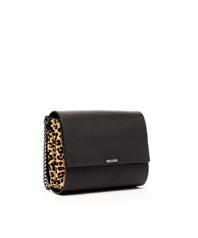 'lee' Animal Print Gussets Leather Crossbody Black_46541