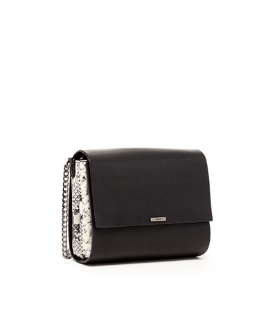 'lee' Animal Print Gussets Leather Crossbody Black_46542