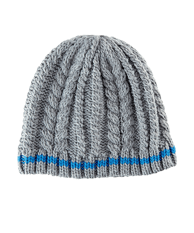4-6 Kid Cable Knit Beanie With Color Contrast Stripe