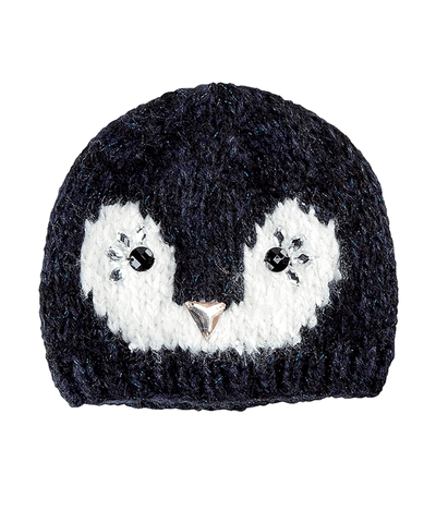 4-6 Kid Penguin Beanie With Faux Gems