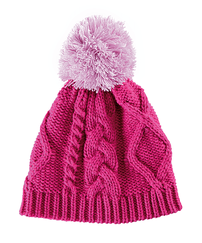2-4 Toddler Cable Knit Beanie With Contrast Color Pom