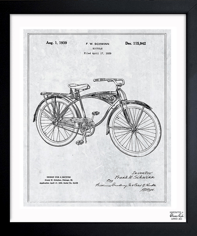'schwinn Bicycle 1939 Grey' Framed Art