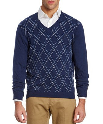 Brooks Brothers Navy Supima Cotton Argyle V-neck Sweater