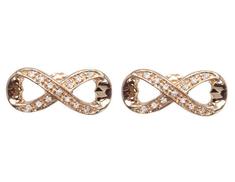 """10k Rose Gold Ladies Round Diamond Infinity Knot Heart Studs Earrings"" - SprintShopping"