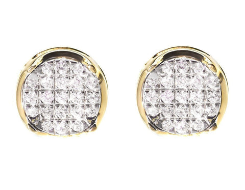"""10K Yellow Gold 1.00ct. Diamond Pave Studs Earrings"" - SprintShopping"
