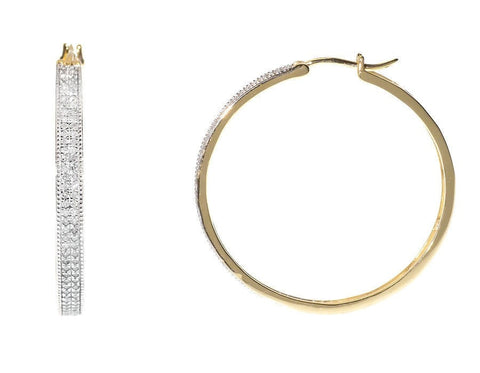 """10K Yellow Gold 2 Row Pave Round 3/4ct Diamond Huggie Hoops Earrings"" - SprintShopping"
