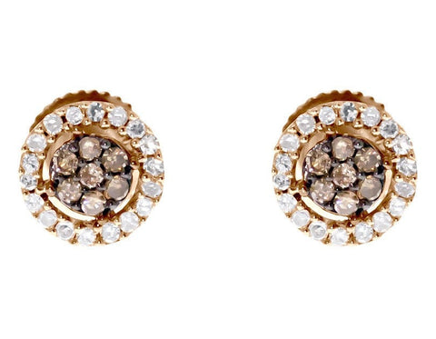 """10k Rose Gold Brown White Diamond 7mm Flower Cluster Studs Earrings"" - SprintShopping"