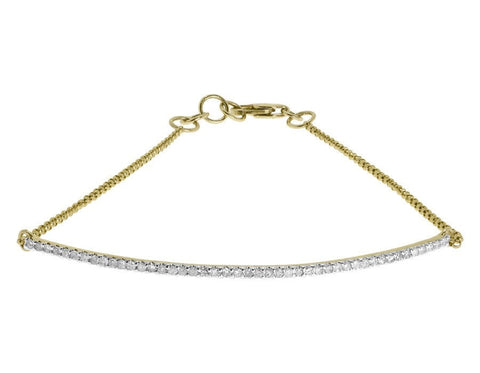 """10K Yellow Gold Round Pave 0.40 ct Diamond Bar Chain Tennis Bracelet"" - SprintShopping"