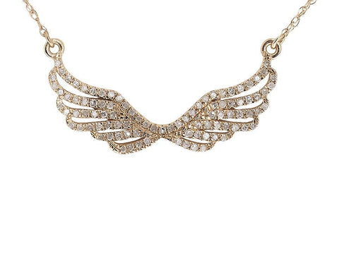 """10K Rose Gold Pave 0.25 ct Diamond Angel Wing Pendant Necklace"" - SprintShopping"