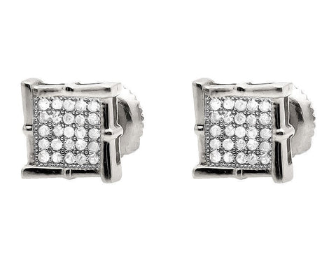 """10K White Gold Wood-like Diamond Stud Earring"" - SprintShopping"