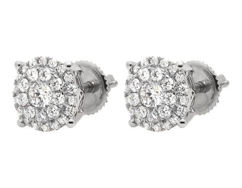 """10K White Gold Solitaire Accent Halo Flower Round Diamond Stud Earring"" - SprintShopping"