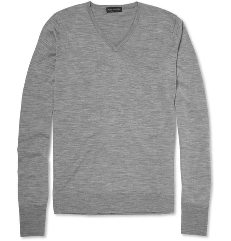 Bobby Merino Wool V-Neck Sweater Gray_3271