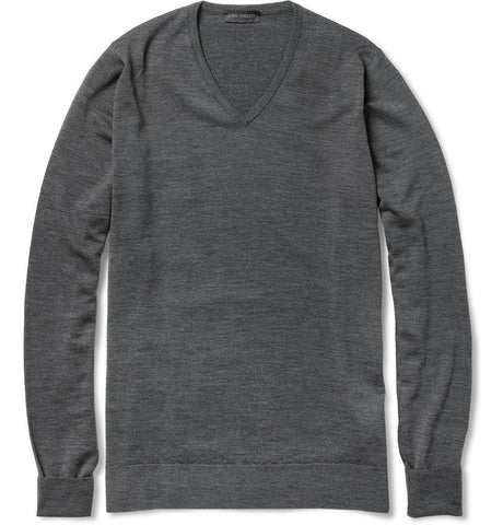 Bobby Merino Wool V-Neck Sweater Gray_3272