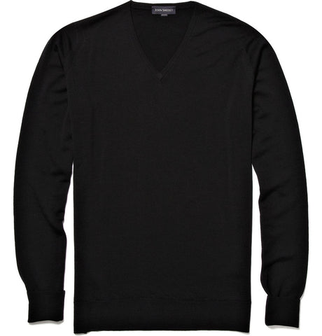 Bobby V-Neck Merino Wool Sweater Black