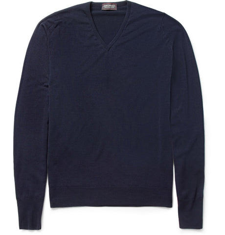 Bobby Merino Wool V-Neck Sweater Blue