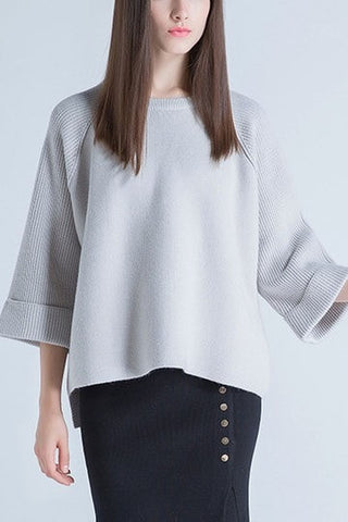3/4 Length Sleeves High-low Hem Knitted Jumper in Grey