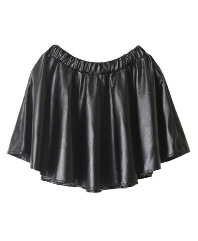 Black PU Leather High Waist Bubble Skirt_3771