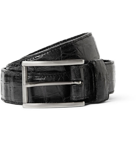 3cm Black Crocodile Belt Black