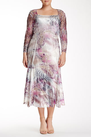 3/4 Length Sleeve Printed Dress (Plus Size)