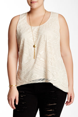 Aztec Hi-Lo Tank & Necklace (Plus Size)-2303