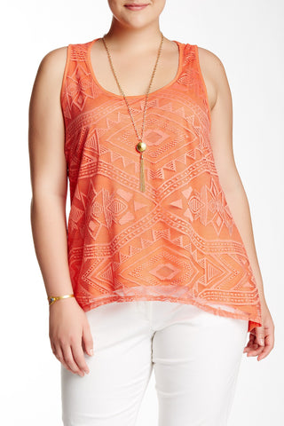 Aztec Hi-Lo Tank & Necklace (Plus Size)-2302