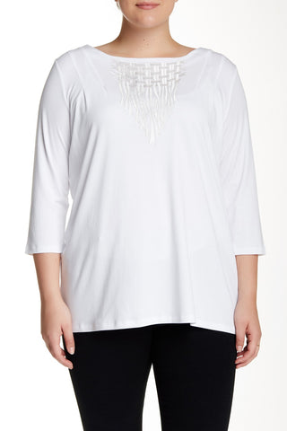 3/4 Length Sleeve Embroidered Blouse (Plus Size)