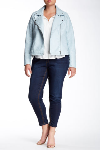 Embroidered Pocket Pencil Jean (Plus Size)-6252