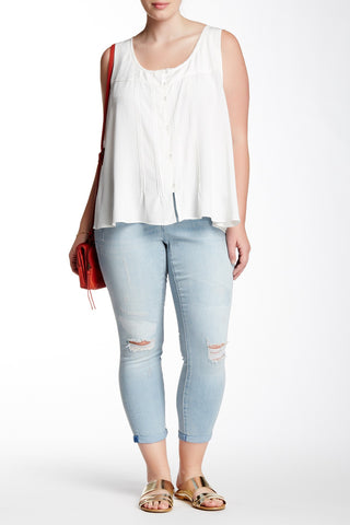Forever Rolled Distressed Skinny Jean (Plus Size)